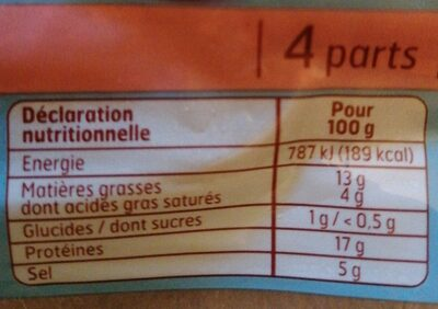 Filets de harengs fumés - Informations nutritionnelles - fr