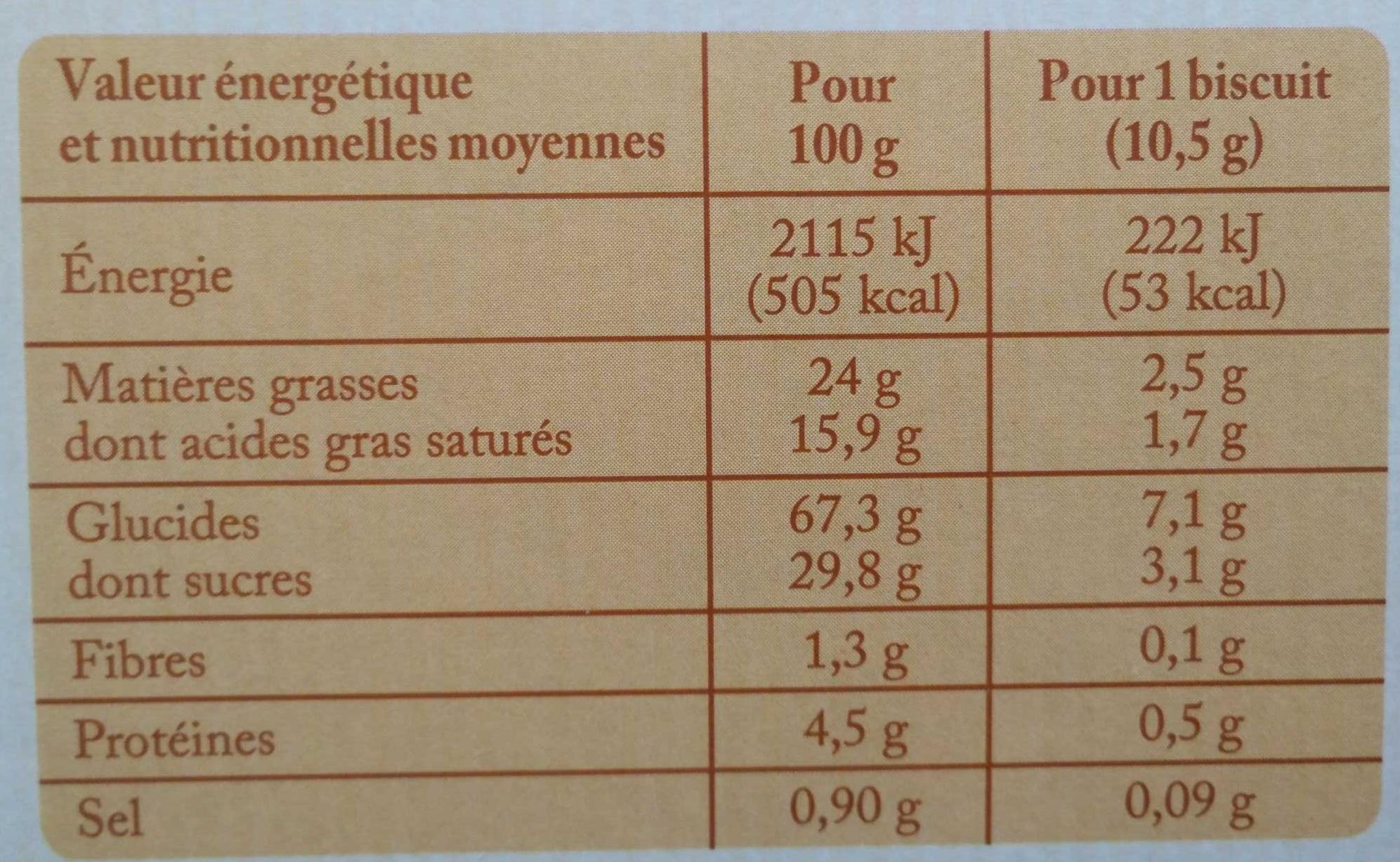 Galettes sablées caramel au beurre salé - Informations nutritionnelles - fr