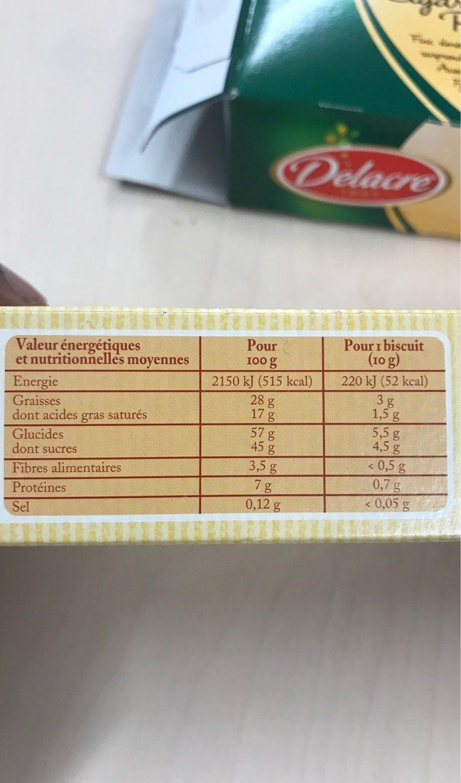 Nougat Noisette - Biscuits suisses - Informations nutritionnelles