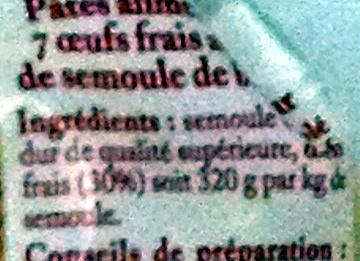 Torsades Pâtes d'Alsace (7  œufs frais au kilo) - Ingrediënten - fr