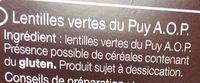 Lentilles verte du Puy - Ingrédients