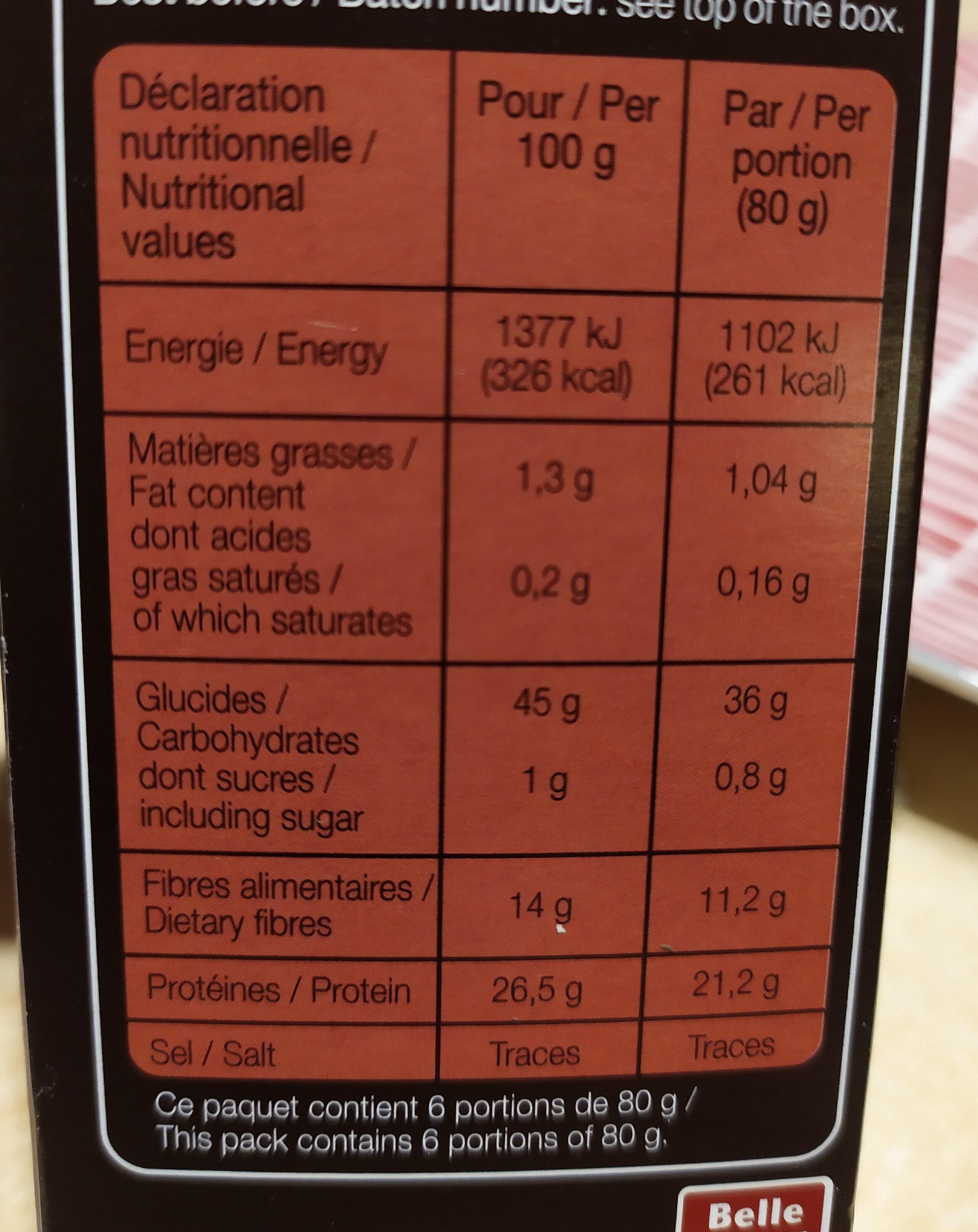 Lentilles verte du Puy - Informations nutritionnelles