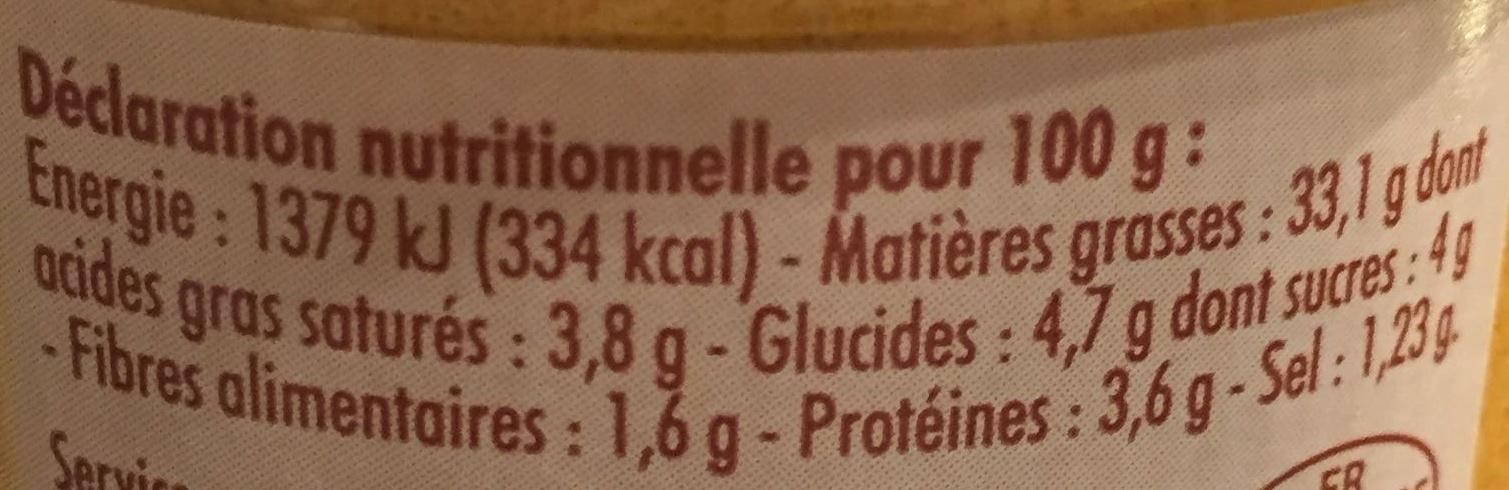 Sauce rouille à la Sétoise - Informations nutritionnelles - fr