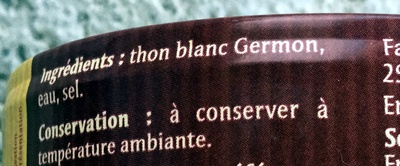 Thon blanc au naturel - Ingrédients - fr