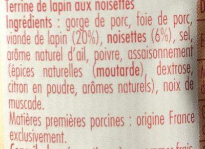 Terrine de Lapin aux noisettes - Ingrediënten