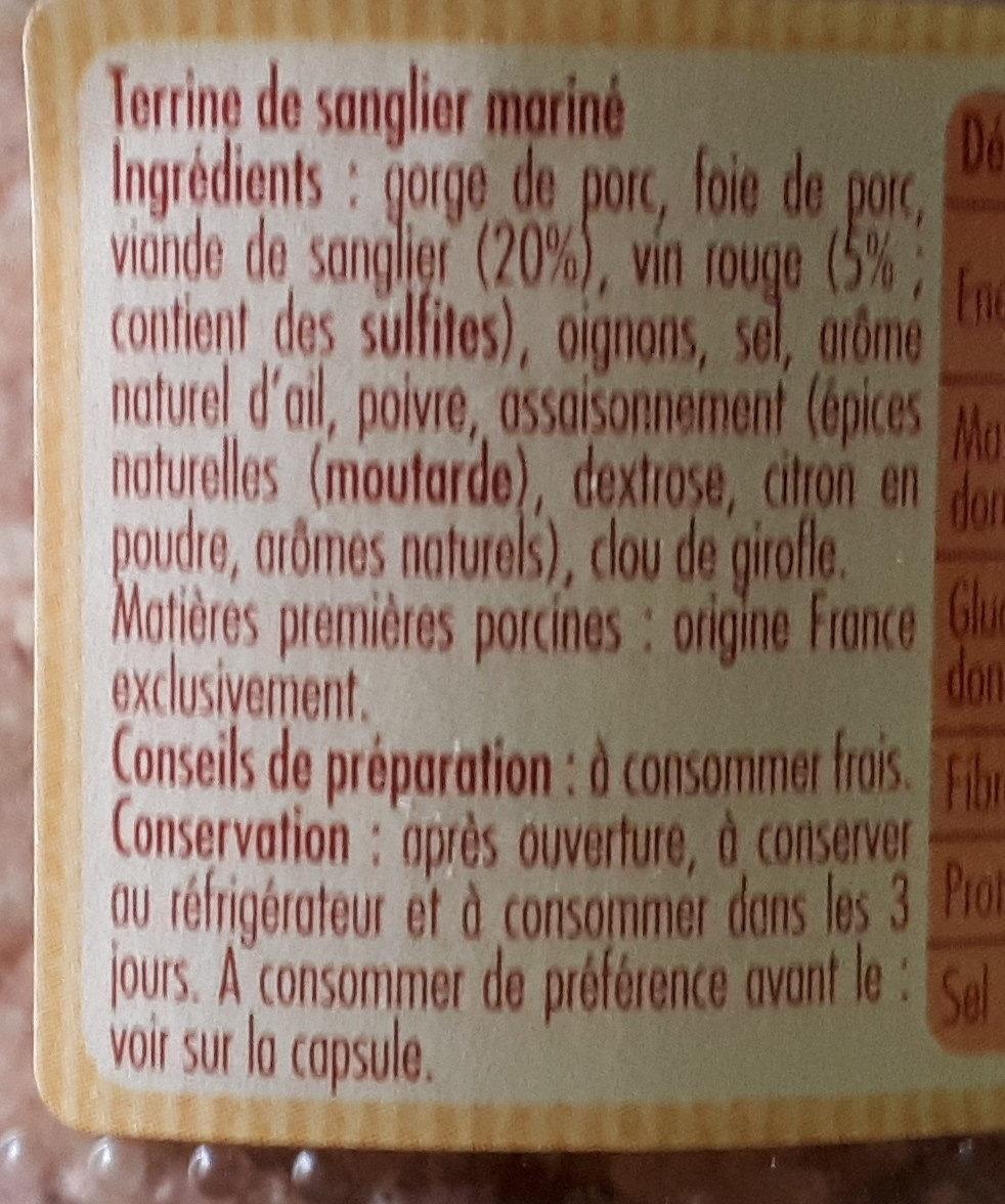 Terrine De Sanglier - Ingrédients