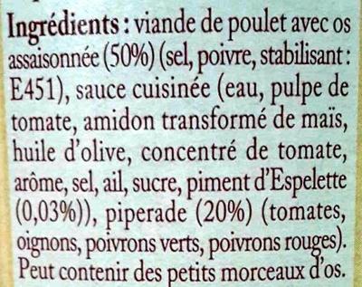 Poulet basquaise au piment d'Espelette - Ingrédients - fr