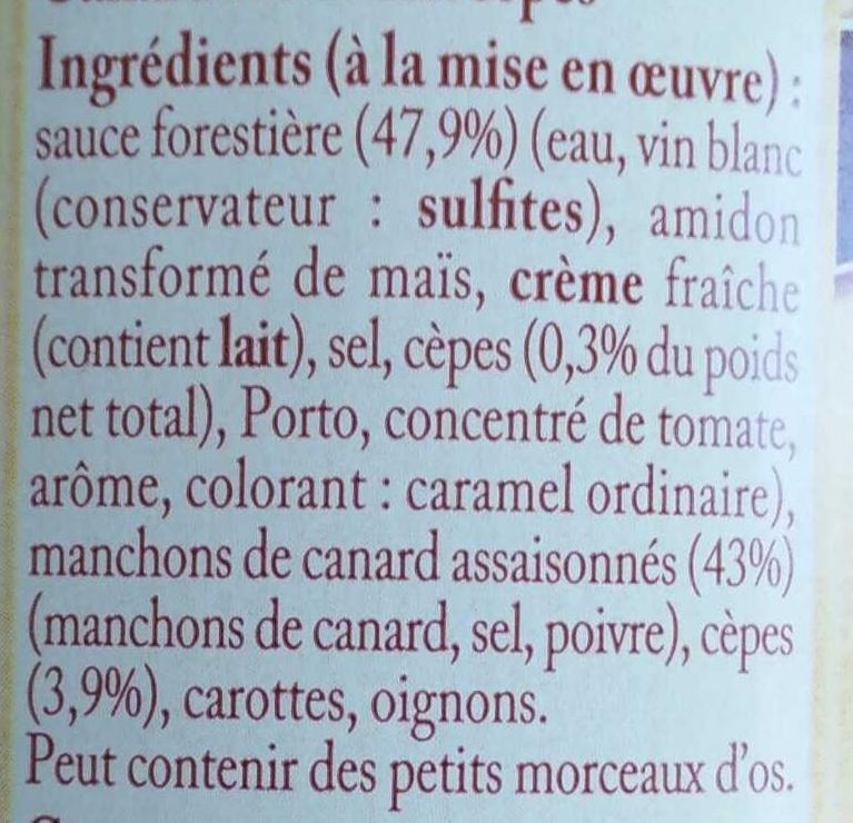 Canard sauce aux cèpes - Ingrédients - fr