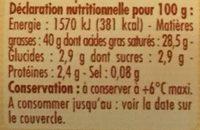 Crème d'Isigny - Voedingswaarden - fr