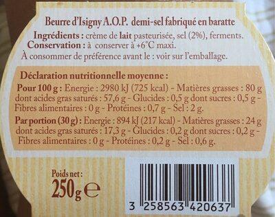 Beurre d'Isigny au sel de Guérande - Voedingswaarden - fr
