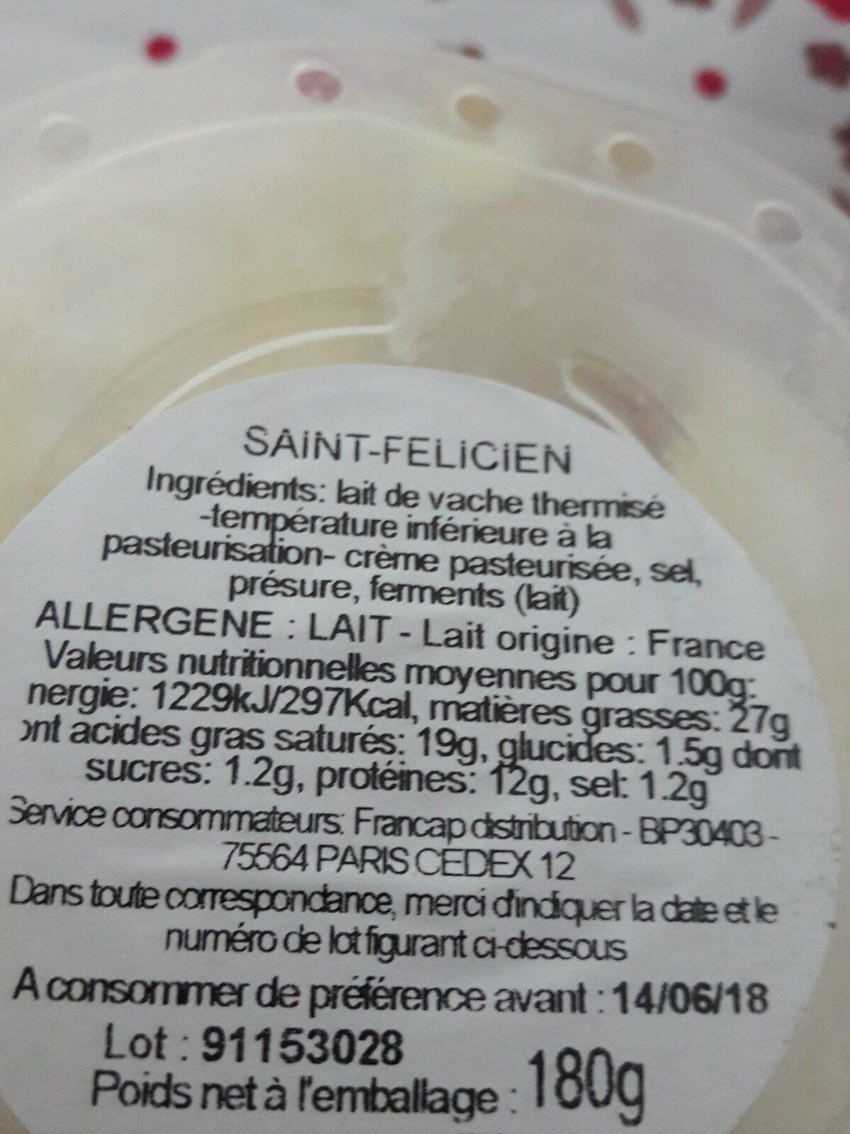 Saint felicien - Ingrédients - fr
