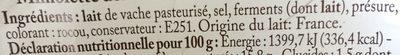 Mimolette 1 / 2Viel.200G Bf, - Ingrédients - fr