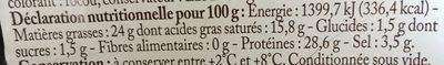 Mimolette 1 / 2Viel.200G Bf, - Informations nutritionnelles - fr