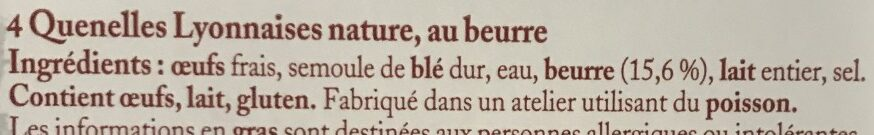 4 quenelles lyonnaises - Ingrédients - fr