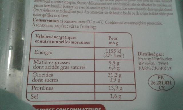 Ravioles du Dauphiné - Nutrition facts - fr
