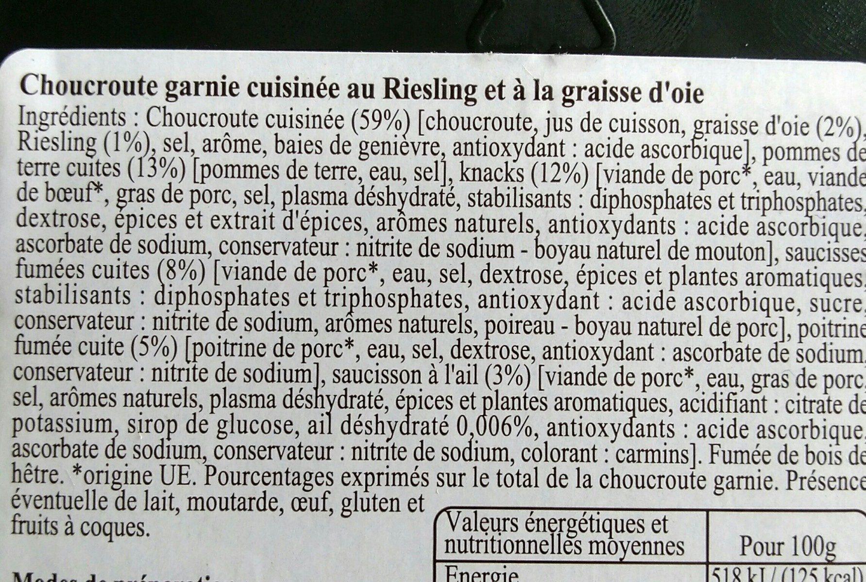 Choucr.garnie 950G Dbf, - Ingrédients - fr