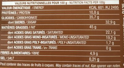 Chocolat Lait - Nutrition facts
