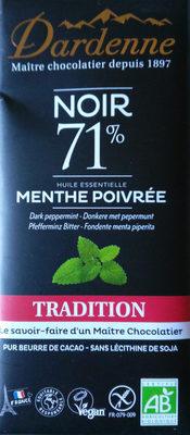 Chocolat noir 71% aux huiles essentielles de menthe poivrée - Produit - fr