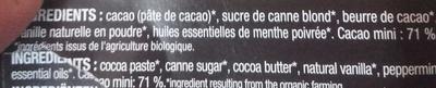 Chocolat noir 71% aux huiles essentielles de menthe poivrée - Ingrédients - fr