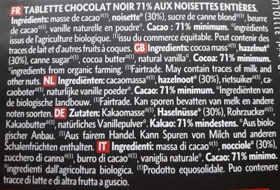 Noir 71% noisettes entières - Ingrédients - fr