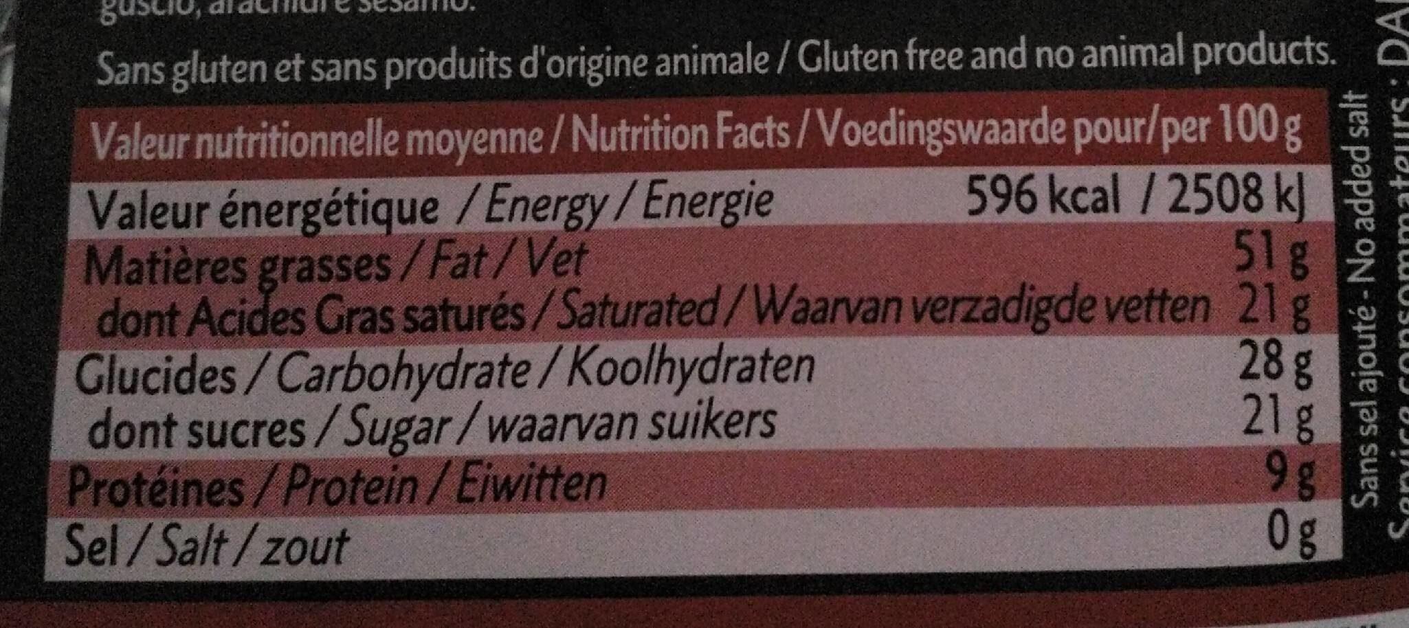 Noir 71% noisettes entières - Informations nutritionnelles - fr