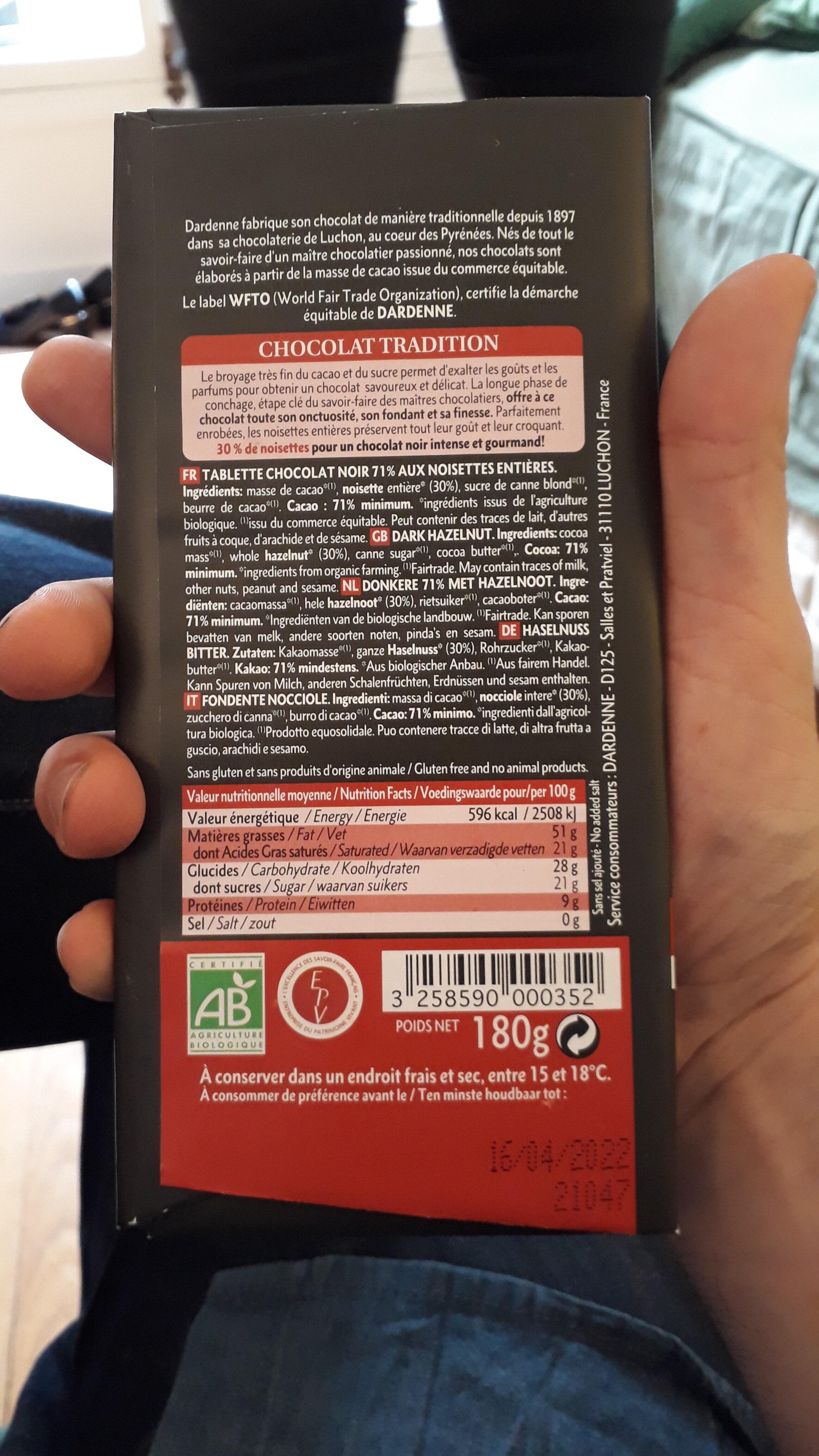 Noir 71% noisettes entières - Instruction de recyclage et/ou informations d'emballage - fr