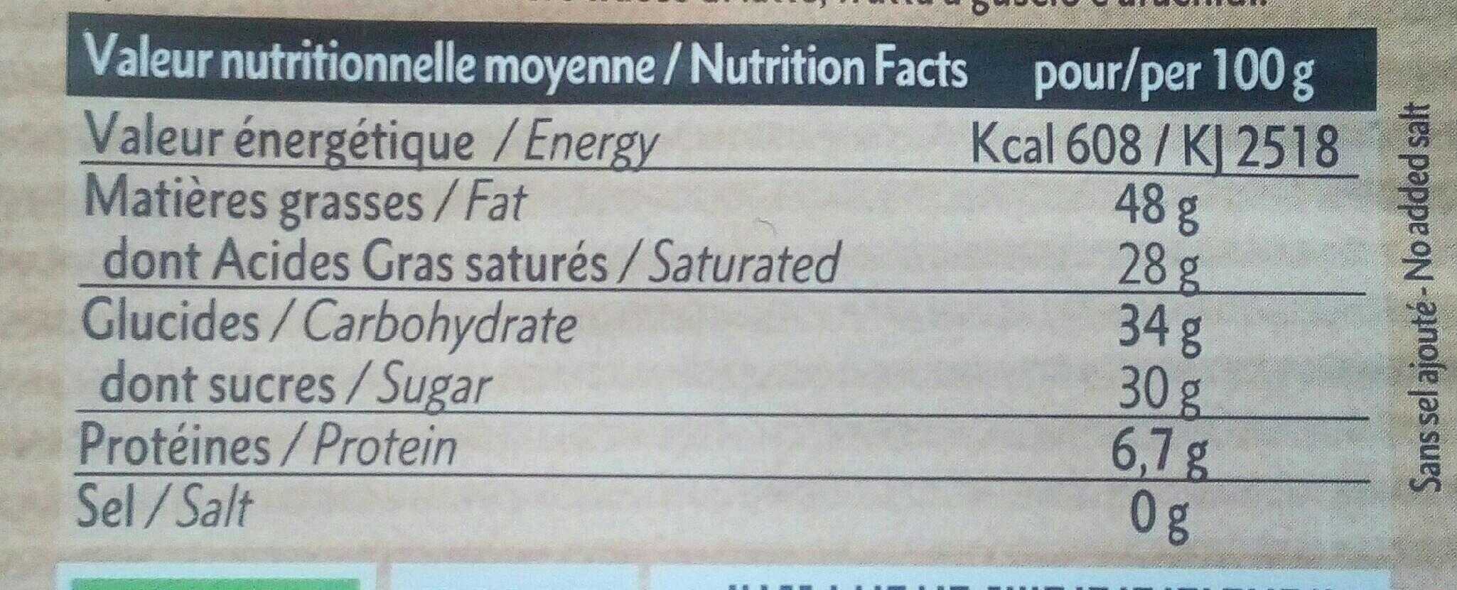 Chocolat noir 71% à patisser - Valori nutrizionali - fr