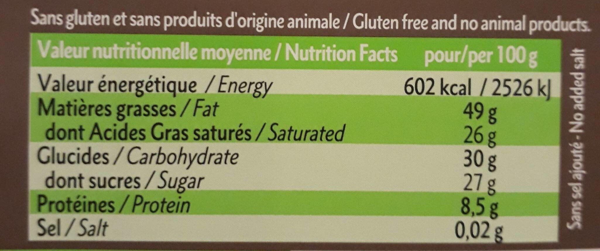 Chocolat Lait 100% Vegetal - Nutrition facts - fr