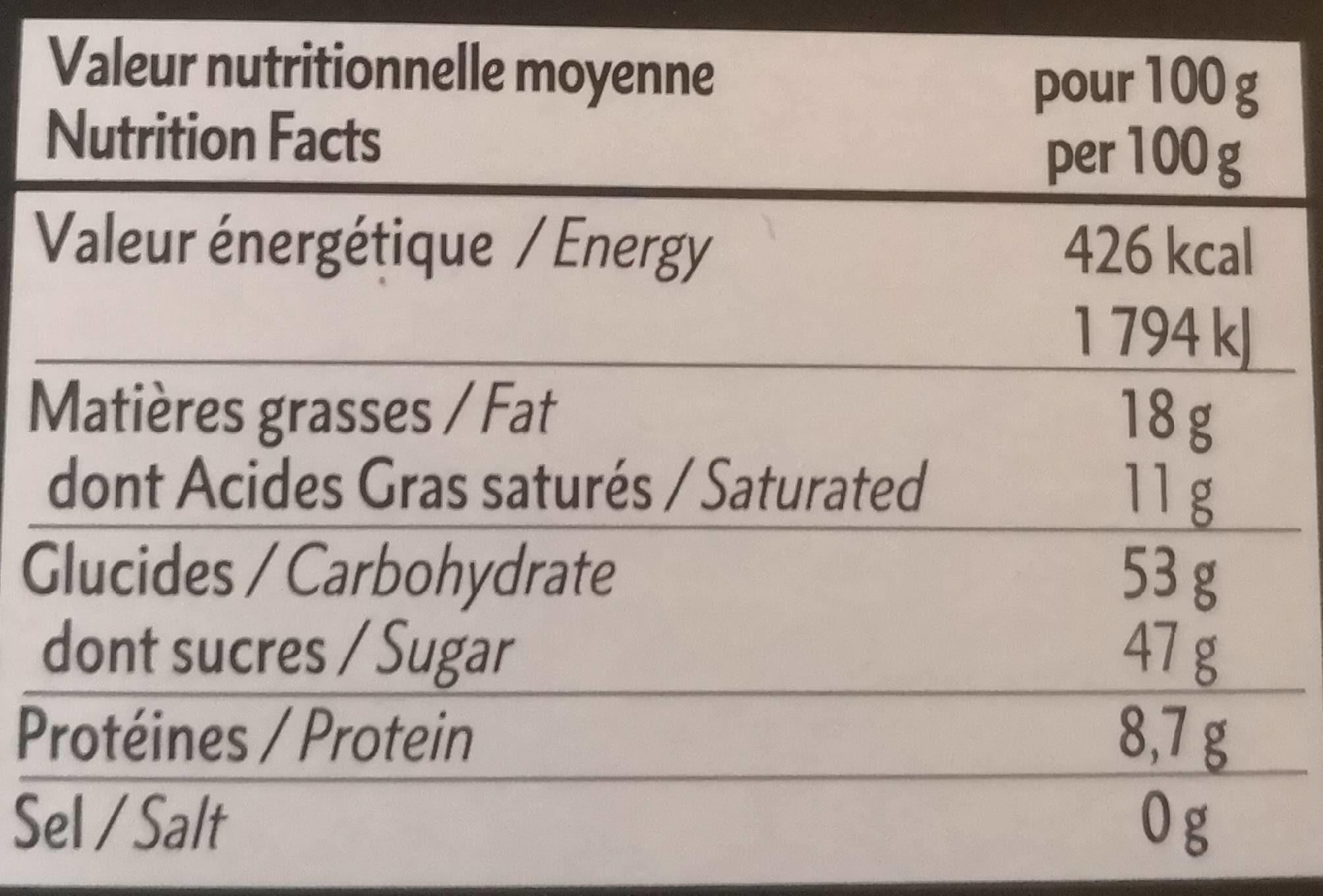 Chocolat petit déjeuner - Valori nutrizionali - fr