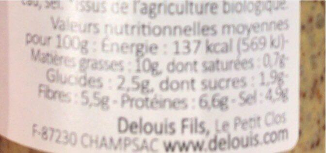 Moutarde entière au vinaigre de cidre - Voedingswaarden - fr