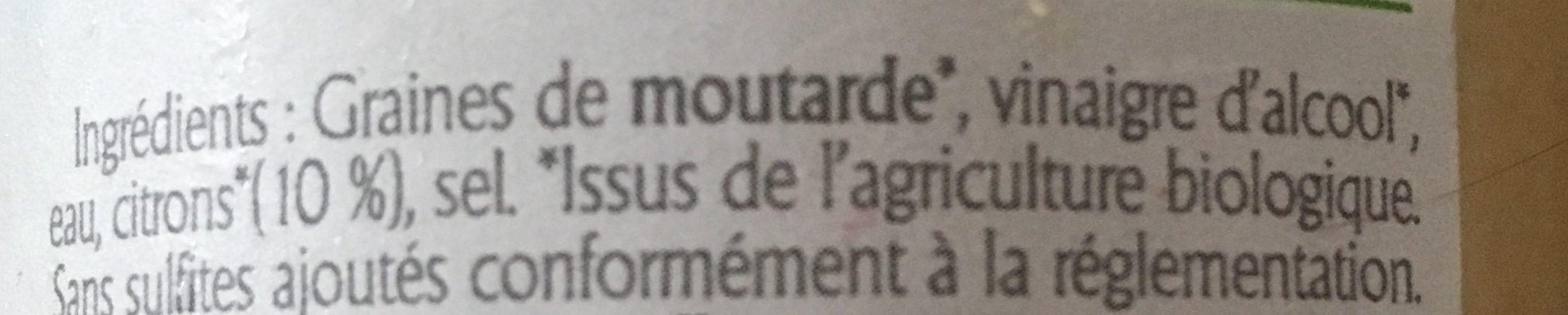 Moutarde De Dijon Au Citron - Ingrédients - fr