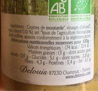 Moutarde De Dijon Au Citron - Informations nutritionnelles - fr