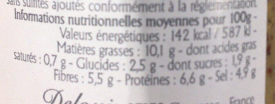 Moutarde entière au vinaigre de cidre - Nutrition facts - fr