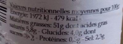 Sauce Vinaigrette Bouquet de Pommes - Nutrition facts - fr