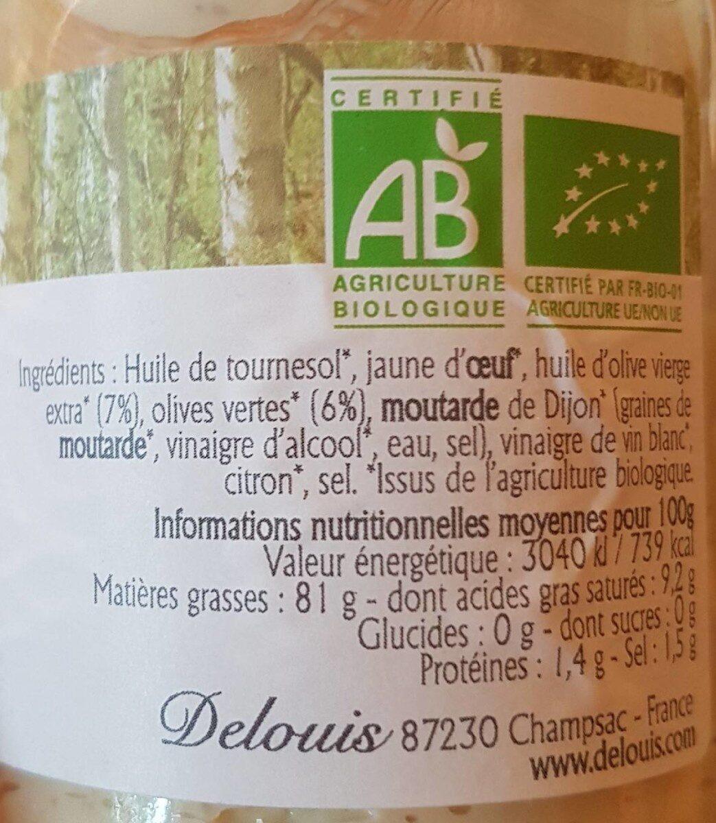Mayonnaise aux olives vertes - Informations nutritionnelles - fr