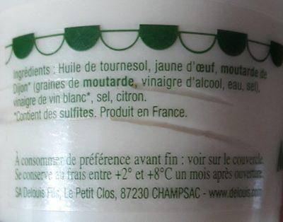 Delouis, Mayonnaise fraiche, la pot de 110 gr - Ingredients - fr