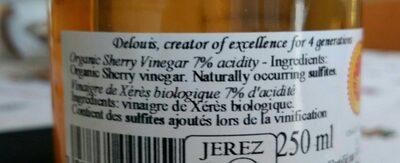 Vinegar Sherry De Jerez Organic 250ML - Informations nutritionnelles - fr