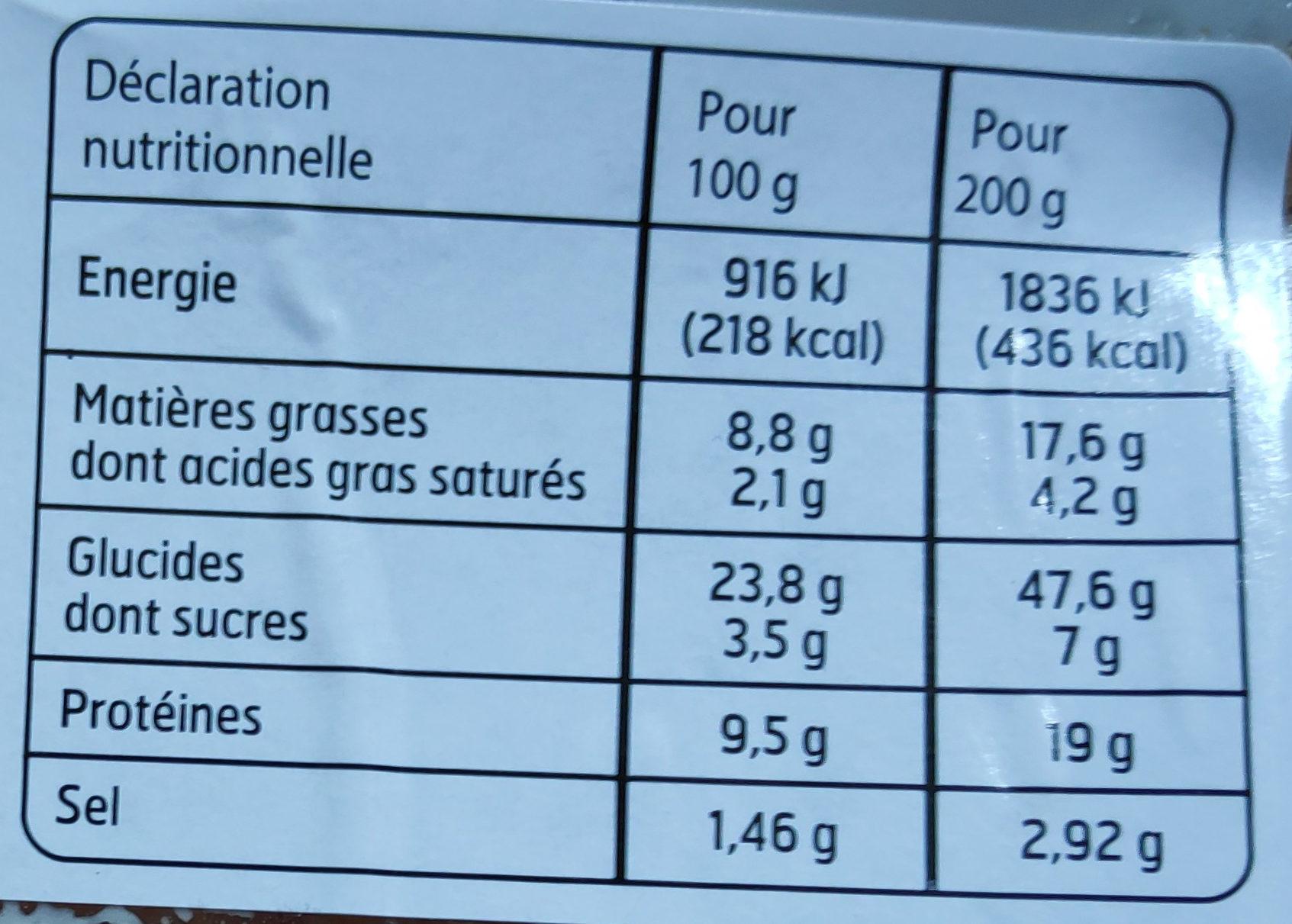 Sandwich Club Maxi Jambon crudités emmental - Nutrition facts
