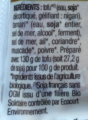 Tofu fumé - Ingrediënten - fr