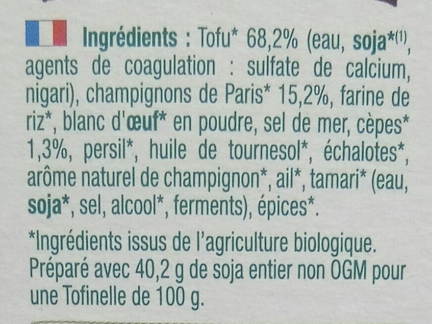 Tofinelle champignons - Ingredients