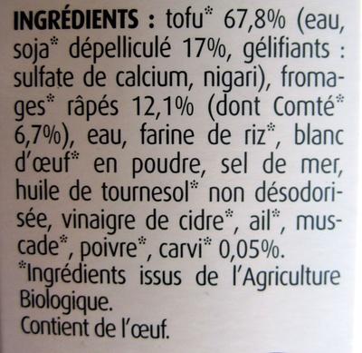 Tofinelle comté et carvi - Ingrédients - fr