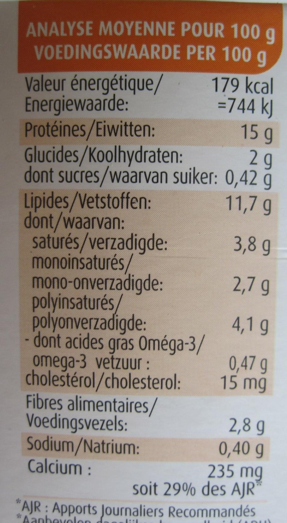 Tofinelle comté et carvi - Informations nutritionnelles - fr