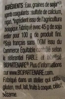 Tofou Nature - Ingrediënten - fr