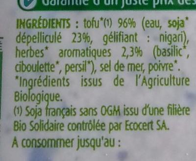 Tofou aux Herbes - Ingredienti - fr