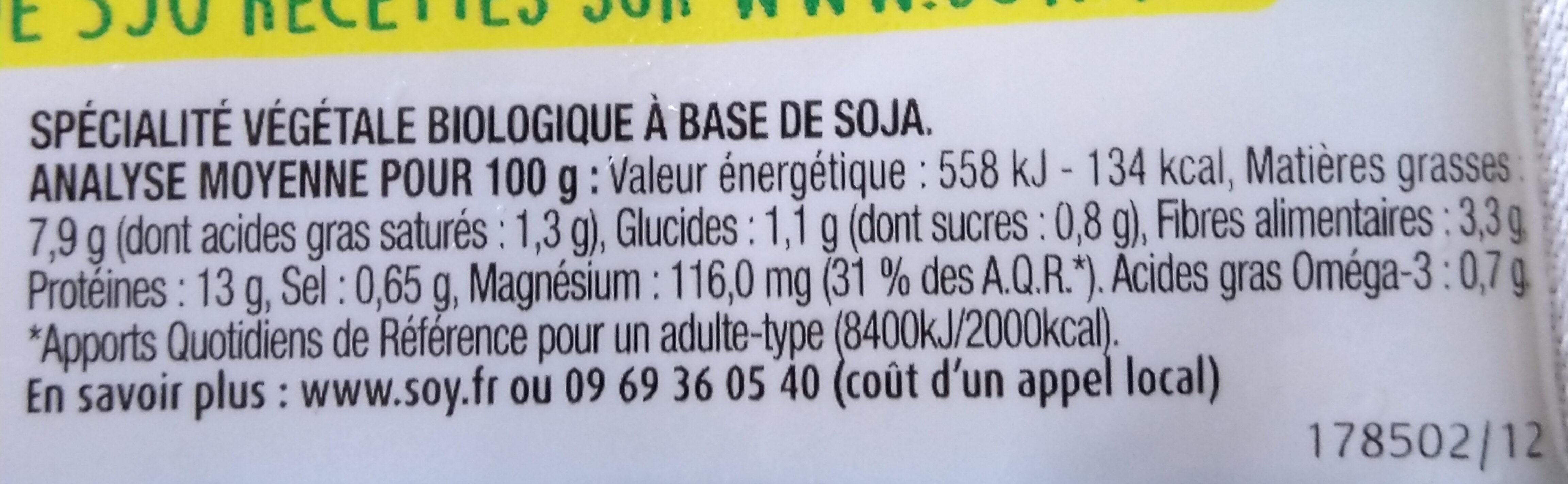 Tofou aux Herbes - Valori nutrizionali - fr