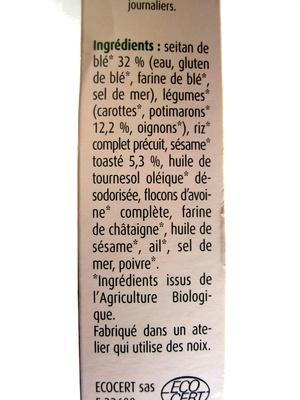 Croc' galette Seitan sésame et potimaron - Ingrédients