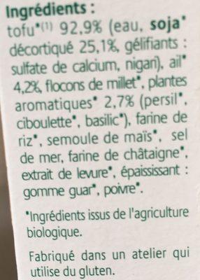 Croc tofu - Ail & Fines herbes - Ingrédients