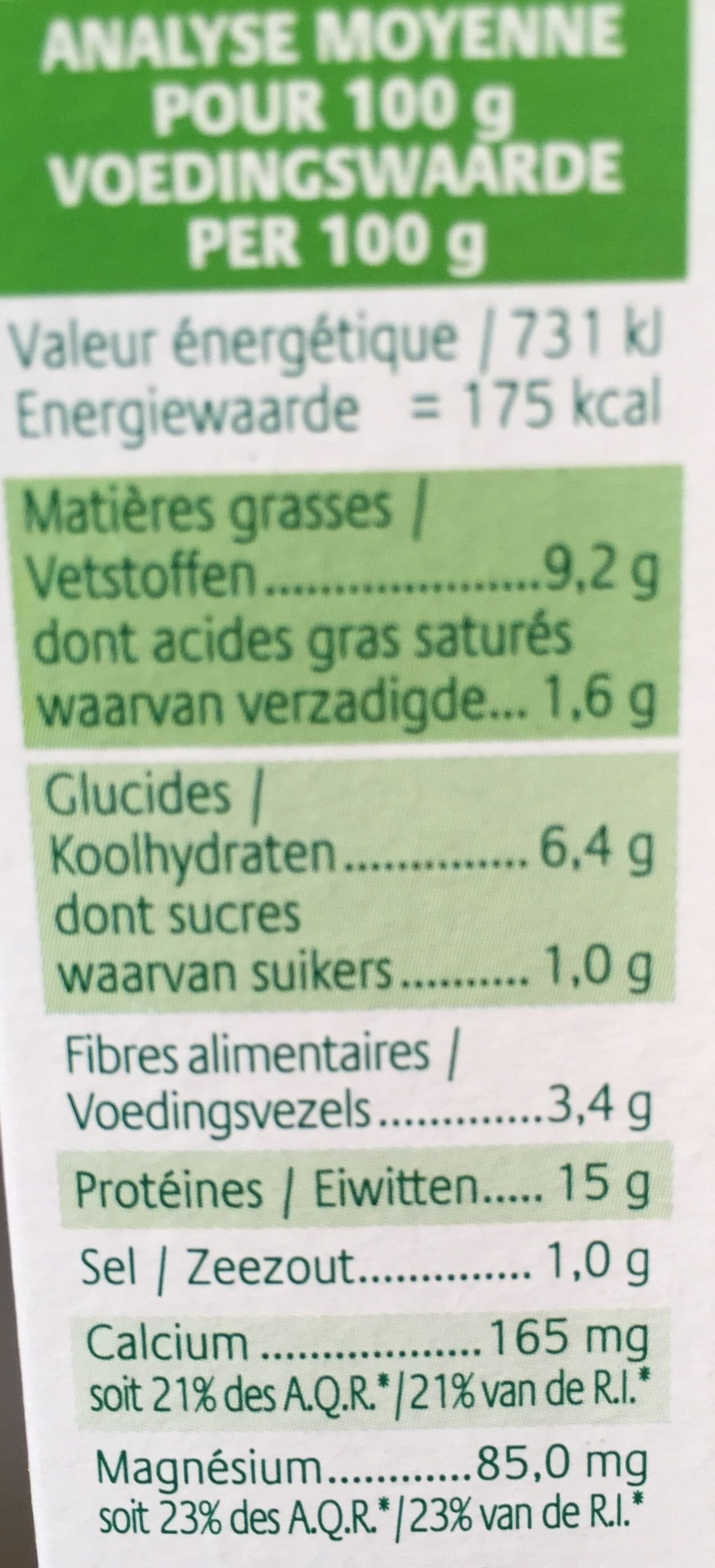 Croc tofu - Ail & Fines herbes - Informations nutritionnelles