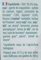 Croc Tofou à la Provençale - Ingredients