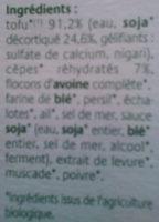 Croque tofou Cèpes en Persillade - Ingrédients